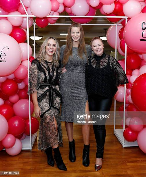 The judging panel Robyn Lawley Keshnee Kemp and Chelsea Bonner pose at the Cosmo Curve casting on March 17 2018 in Sydney Australia