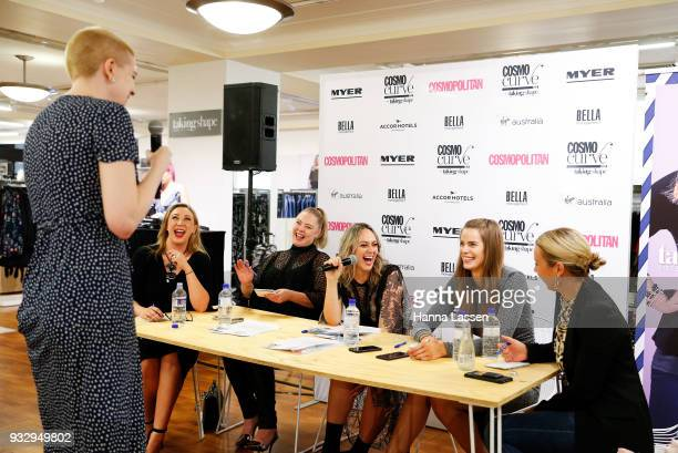The judging panel Robyn Lawley Keshnee Kemp Chelsea Bonner Clare Hurley and Thea Laidlaw talk with a model at the Cosmo Curve casting on March 17...