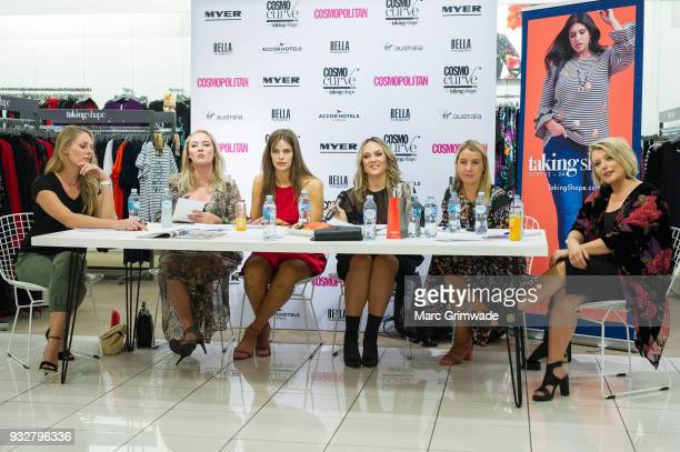 The judging panel Skye Bonner Chelsea Bonner Robyn Lawley Keshnee Kemp Clare Hurley and Bec Gardiner at the Cosmo Curve casting with Robyn Lawley on...
