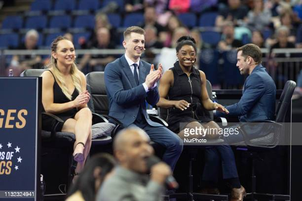 The juding panel during the Superstars of Gymnastics Event at the O2 Arena Greenwich on Saturday 23rd March 2019