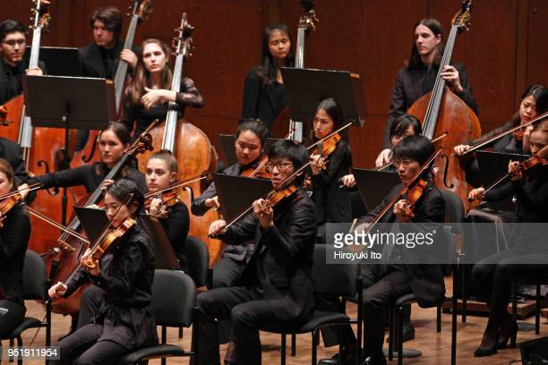 """The Juilliard Orchestra performing Samuel Barber's """"Essay No 1 for Orchestra"""" at David Geffen Hall on Monday night, April 16, 2018."""
