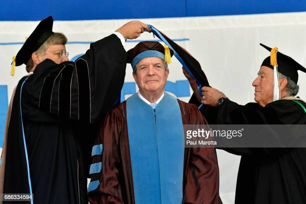 The Juilliard School President Joseph Polisi receives an Honorary Doctor of Fine Arts Degree at the 2017 Tufts University 161st Commencement at Tufts...