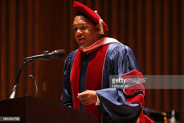The Juilliard School's 101st Commencement Ceremony at Alice Tully Hall on Friday May 26 2006This imageWynton Marsalis giving a speech to students