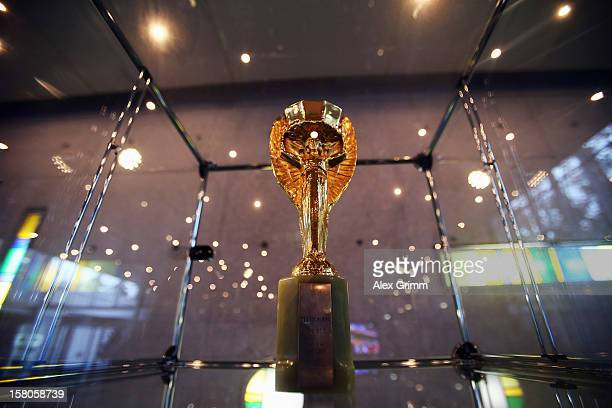 The Jules Rimet trophy is seen in the lobby of the DFB headquarters during the DFB Federal Court trial against Hannover 96 and Dynamo Dresden on...