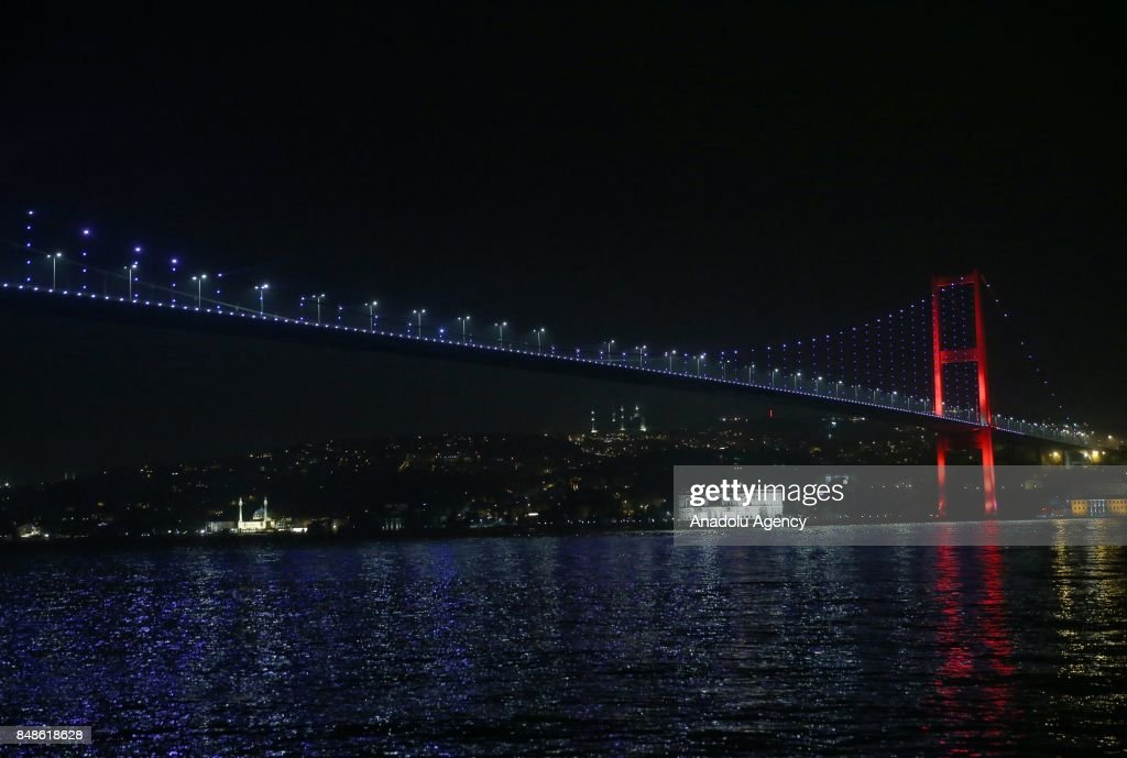 The July 15 Martyrs Bridge light-up red, blue and white for Slovenia after Slovenia won their first ever gold medal in the EuroBasket 2017 and became Europe's champions after defeating Serbia 93-85 in Istanbul, Turkey on September 18, 2017.