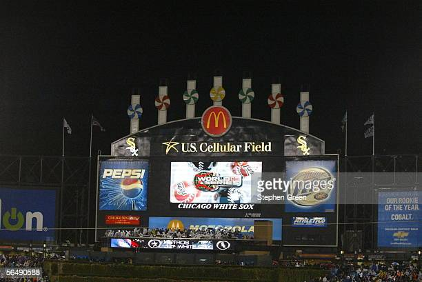 The Jumbotron at US Cellular Field displays a logo before Game Two of the Major League Baseball World Series between the Chicago White Sox and the...