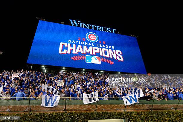 The jumbotron displays 2016 National League Champions after the Chicago Cubs defeated the Los Angeles Dodgers in Game 6 of the NLCS at Wrigley Field...