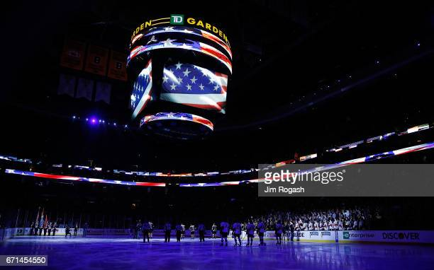 The Jumbotron displays the America flag during the National Anthem before a matchup between the Boston Bruins and the Ottawa Senators before the...