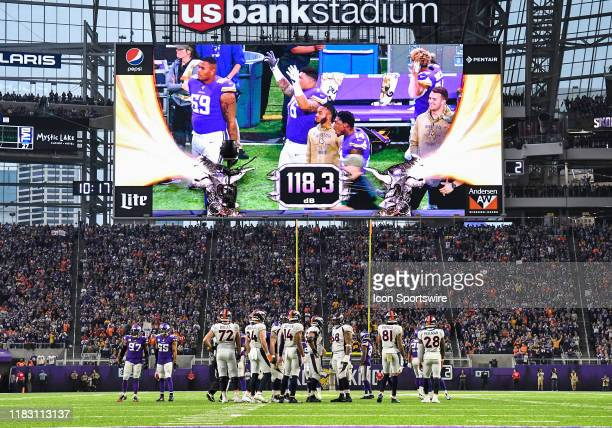 The Jumbotron gives a crowd noise decibel reading of 118.3 during a game between the Denver Broncos and Minnesota Vikings on November 17, 2019 at...