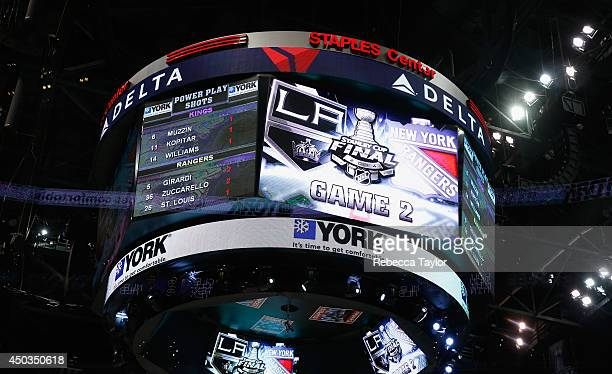 The jumbotron is seen after the Los Angeles Kings played the New York Rangers in Game Two of the 2014 Stanley Cup Final at Staples Center on June 7...