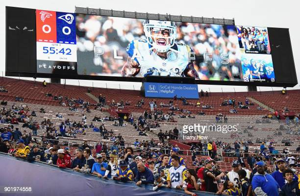 The jumbotron is seen as fans wait for the start of the NFC Wild Card Playoff game between the Atlanta Falcons and the Los Angeles Rams at Los...
