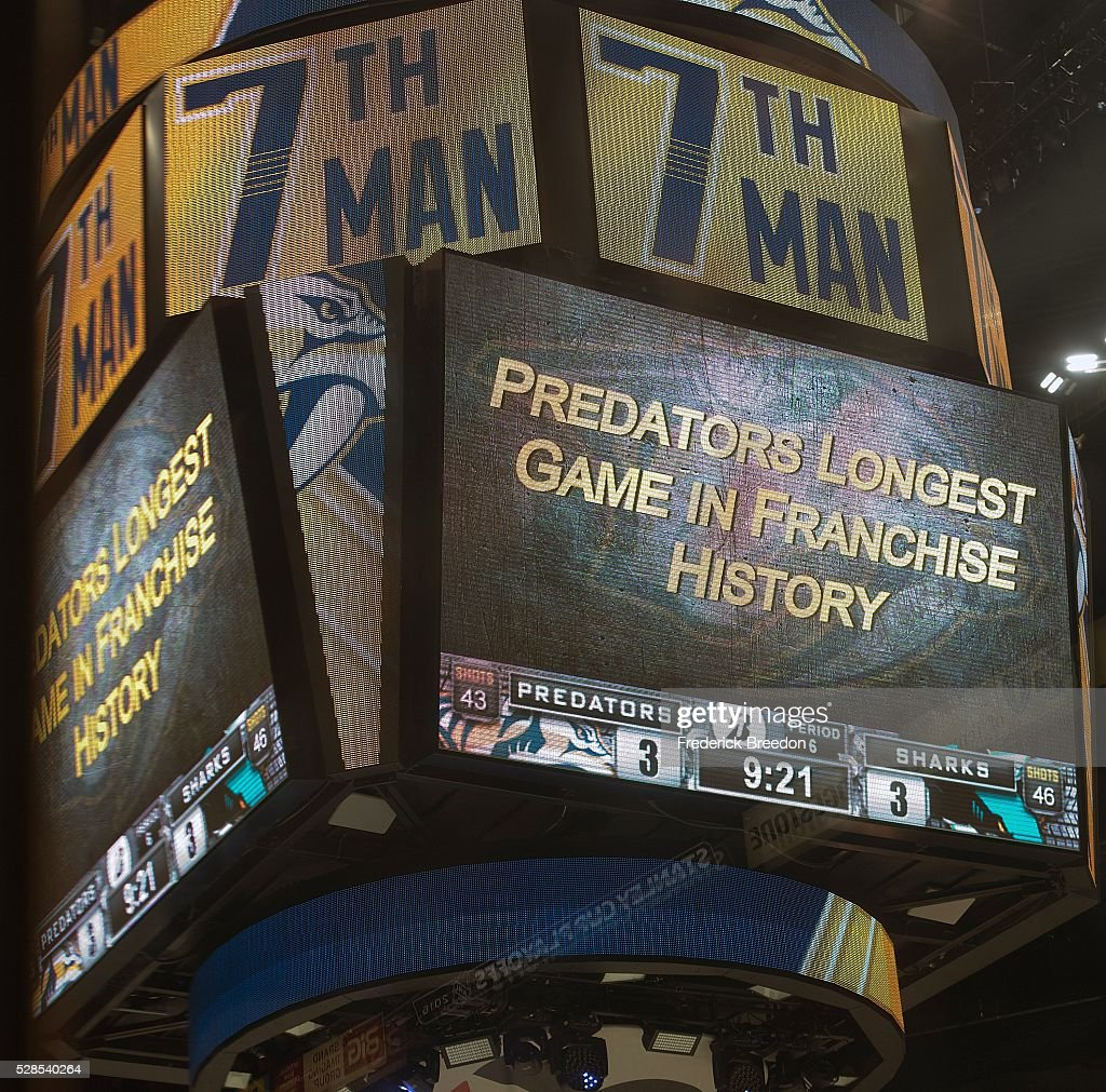 The Jumbotron notifies fans of the game being the longest in Predator history during the third overtime period of Game Four of the Western Conference Second Round during the 2016 NHL Stanley Cup Playoffs at Bridgestone Arena on May 5, 2016 in Nashville, Tennessee.