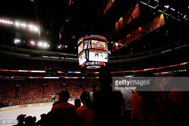The jumbotron reads 'Goal' as the fans cheer after Daniel Briere of the Philadelphia Flyers scores a powerplay goal at 1148 in the first period...