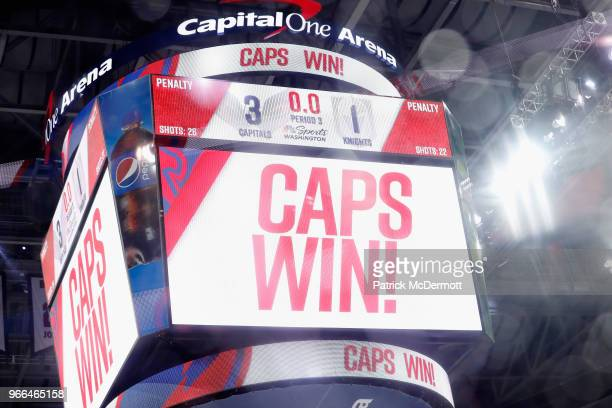 The jumbotron shows the Washington Capitals defeating the Vegas Golden Knights 31 in Game Three of the 2018 NHL Stanley Cup Final at Capital One...