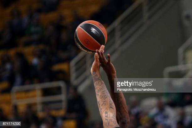 The jumpball of the game during the 2017/2018 Turkish Airlines EuroLeague Regular Season Round 7 game between Panathinaikos Superfoods Athens and...