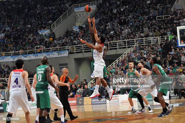 The jumpball of the match during the 2016/2017 Turkish Airlines EuroLeague Regular Season Round 29 game between Panathinaikos Superfoods Athens v...