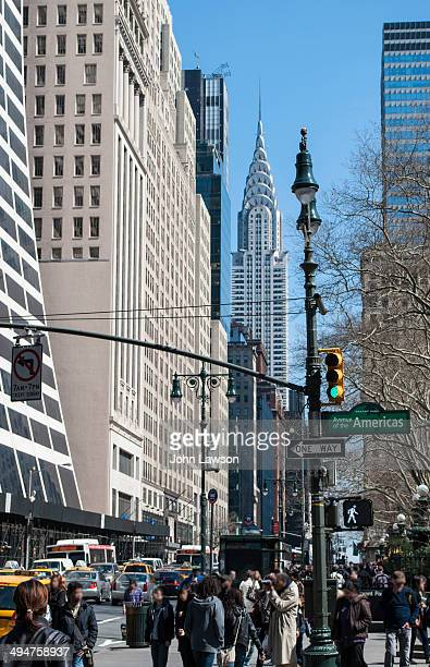 CONTENT] The junction of 42nd Street and Avenue of the Americas Midtown Manhattan NYC USA This junction is on one corner of Bryant Park and the...