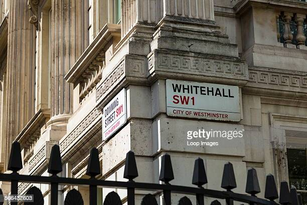 The junction of Downing Street and Whitehall in London