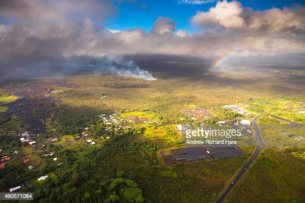 The June 27th lava flow from the Kilauea volcano begins to significantly flow again on December 16 2014 in Pahoa Hawaii According to reports the lava...