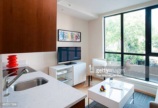 The junior one bedroom apartment, this one 370 square feet, has a roomy feel with the open kitchen/living room area with nearly floor to ceiling...
