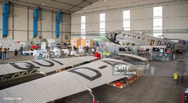 The Junkers Ju 52 airplane standing in a hall on the grounds of LufthansaTechnik in Hamburg Germany 6 April 2016 The plane is currently being...