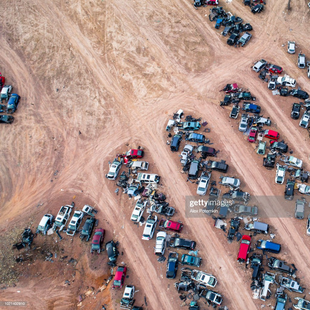 The junkyard - old cars going to be dissassembled and recicled : Stock Photo