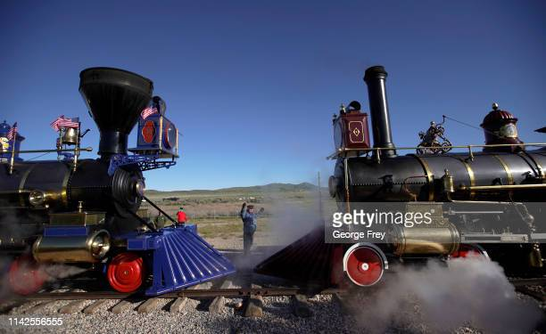 The Jupiter and the 119 steam engines makes their way into place for the 150th anniversary of the driving of the Golden Spike on May 10 2019 in...