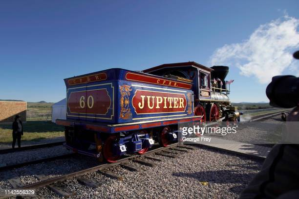 The Jupiter steam engine makes it way into place for the 150th anniversary of the driving of the Golden Spike on May 10 2019 in Promontory Utah The...