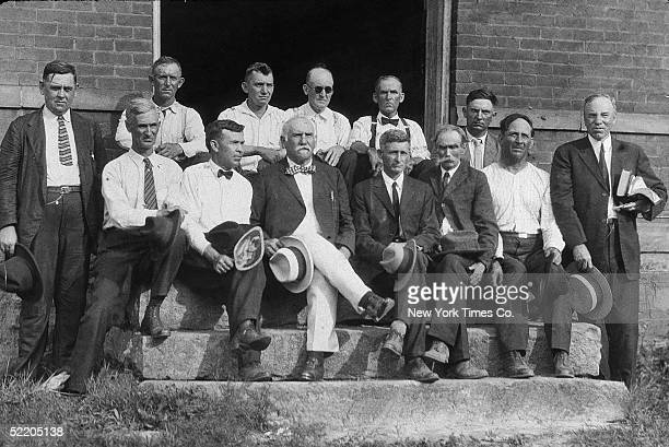 The jury and judge John T Raulston on the steps of a building during the 'Scopes Monkey Trial' in which school teacher John Scopes was prosecuted for...
