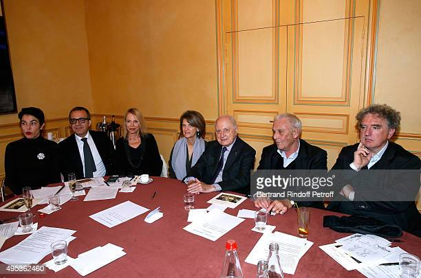 The Jury Cecile Guilbert Charles Dantzig Laure Adler Patricia Martin Pierre Berge Philippe Sollers and Michel Crepu attend the 'Prix Decembre'...