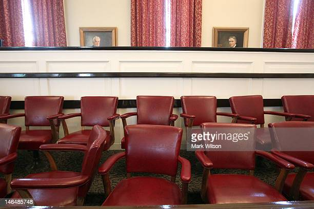 The Jury chairs sit empty inside the courtroom of the Centre County Courthouse, on June 17, 2012 in Bellefonte, Pennsylvania. This week the defense...