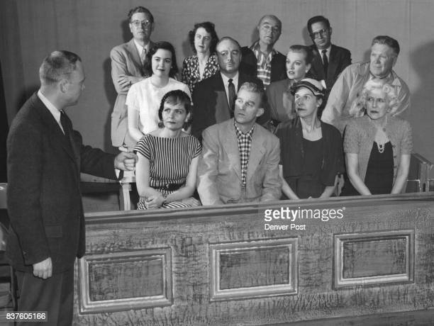 The jury is attentive as Bob Smedley prasecuting attorney asks for a verdict of guilty of murder in the Civic Theater's Ladies of the Jury courtroom...