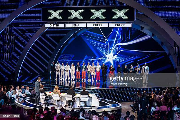 The Jury looks at the presentation of the remaining candidates by host Daniel Hartwich during the second Semifinal of 'Das Supertalent' TV Show on...