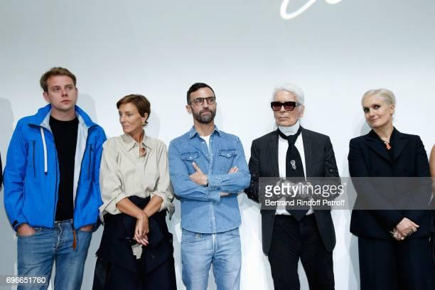 The Jury stylist JW Anderson stylist Phoebe Philo stylist Nicolas Ghesquiere stylist Karl Lagerfeld and stylist Maria Grazia Chiuri attend the Young...