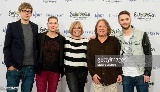 The jury Tim Bendzko Anna Loos Mary Roos Peter Urban and Roman Lob pose after the German trials for the 'Eurovision Song Contest 2013 Our Song for...