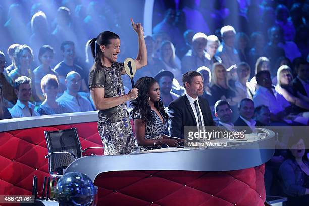 The jury with Motsi Mabuse, Joachim Llambi, Jorge Gonzalez attend the 4th Show of 'Let`s Dance' on April 25, 2014 in Cologne, Germany.