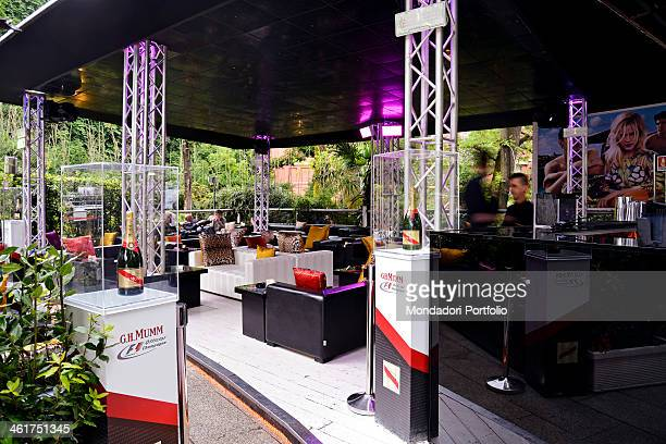 The Just Cavalli club at the foot of the Torre Branca in Parco Sempione The cases protect some bottles of G H Mumm champagne official Formula One...