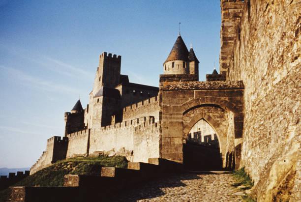 The Justice Tower in the medieval Cité de Carcassonne,...