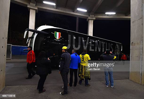 The Juventus bus arrives prior to the UEFA Champions League Round of 16 between Borussia Dortmund and Juventus at Signal Iduna Park on March 18 2015...
