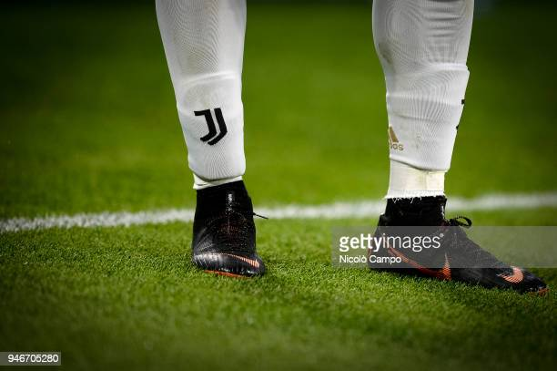 The Juventus emblem on the socks of Douglas Costa is pictured during the Serie A football match between Juventus FC and UC Sampdoria Juventus FC won...