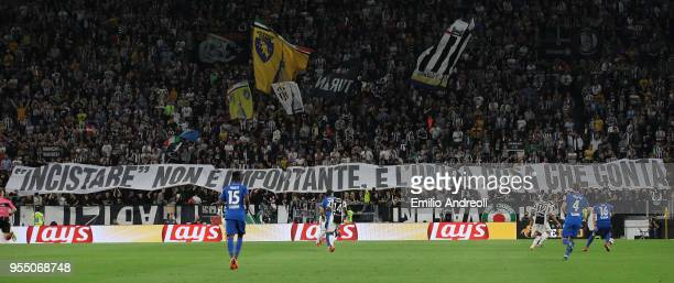 The Juventus FC fans show their support during the serie A match between Juventus and Bologna FC at Allianz Stadium on May 5 2018 in Turin Italy