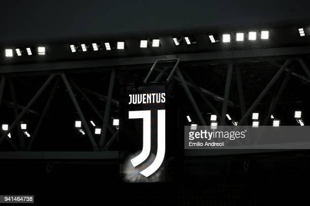 The Juventus logo is seen on a stand prior to the UEFA Champions League Quarter Final Leg One match between Juventus and Real Madrid at Allianz...