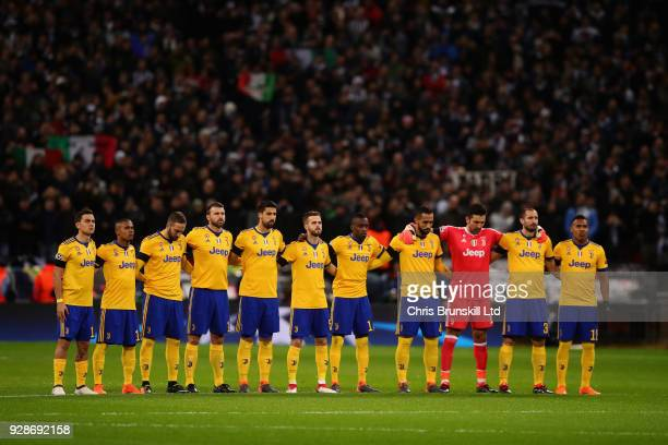 The Juventus team line up before the UEFA Champions League Round of 16 Second Leg match between Tottenham Hotspur and Juventus at Wembley Stadium on...