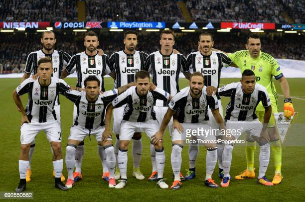 The Juventus team pose for a team group before the UEFA Champions League Final between Juventus and Real Madrid at National Stadium of Wales on June...