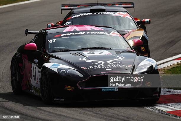 The JWB BIRD Motorsport Aston Martin of Kieran Griffin and Jake Giddings drives during the British GT Championship race at Brands Hatch on August 2,...