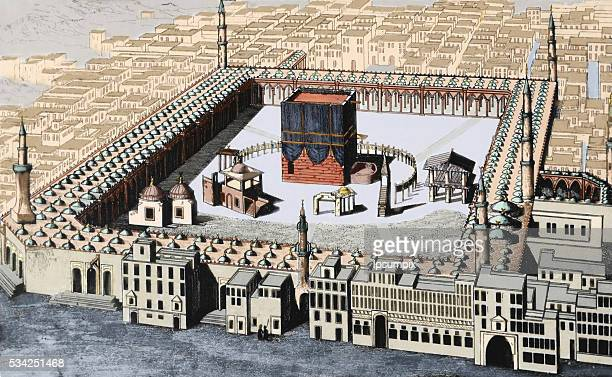 The Kaaba in Mecca the most sacred site in Islam Saudi Arabia Colored engraving 19th century