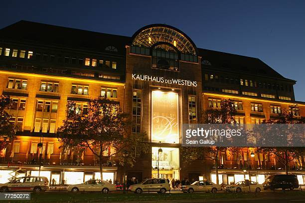 The KaDeWe department store stands illuminated on its 100th birthday October 10 2007 in Berlin Germany