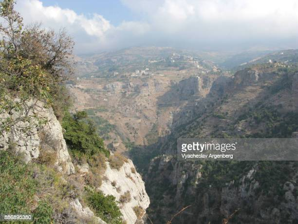 the kadisha (holy) valley as seen from hadchit, lebanon - argenberg stock pictures, royalty-free photos & images