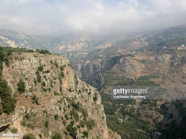 the kadisha (holy) valley, lebanon - argenberg stock pictures, royalty-free photos & images