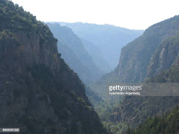 the kadisha (holy) valley mountain view, lebanon - argenberg stock pictures, royalty-free photos & images